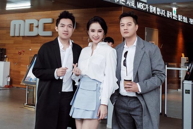 Angela Phương Trinh và hai đạo diễn Nam Cito (trái), Bảo Nhân trong chuyến công tác Hàn Quốc cách đây không lâu.