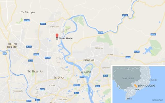 Vụ việc xảy ra tại phường Thạnh Phước, thị xã Tân Uyên, Bình Dương. Ảnh: Google Maps.