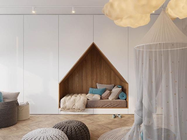 Không gian của bé luôn cần chú trọng đến việc thiết kế chức năng vui chơi. Thay vì đặt chiếc giường chiếm nhiều diện tích, bạn có thể kết nối tủ đựng đồ âm tường với giường ngủ. Khoảng diện tích còn lại đủ để bố trí không gian vui chơi rộng thoáng và sáng tạo cho con.