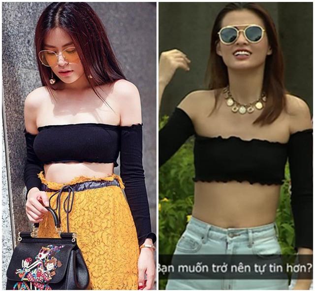 Bạn có nhận ra sự khác biệt giữa Cao Thiên Trang và Hoàng Thùy Linh khi cùng đụng hàng một mẫu áo