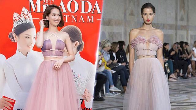 Tham dự sự kiện thảm đỏ, Ngọc Trinh gây ấn tượng với mẫu váy hoa nữ tính, gợi cảm. Tuy nhiên, ngay lập tức giới mộ điệu phát hiện vài điểm tương đồng giữa trang phục này và thiết kế trong bộ sưu tập couture của Giambattista Valli.