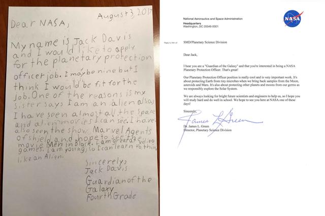 Nội dung thư Jack gửi đến cho NASA và hồi đáp của cơ quan này. (Ảnh: nasa)