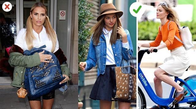 Túi xách và balo: Những chiếc túi to, không có hình dạng khiến bạn trông giống nữ sinh trung học. Bạn nên sử dụng túi xách cứng cáp, với đường nét rõ ràng hoặc balo dạng hình học, nhưng không thêm đinh tán.
