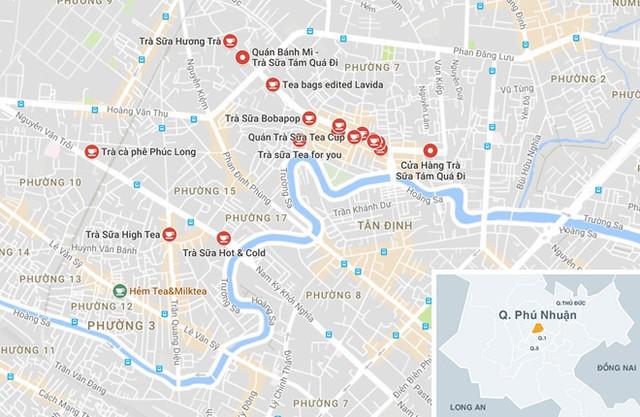 Những quán trà sữa chi chít trên đường Phan Xích Long.