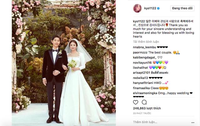 Cô dâu Song Hye Kyo lần đầu đăng ảnh lên tiếng sau siêu đám cưới với lang quân Song Joong Ki