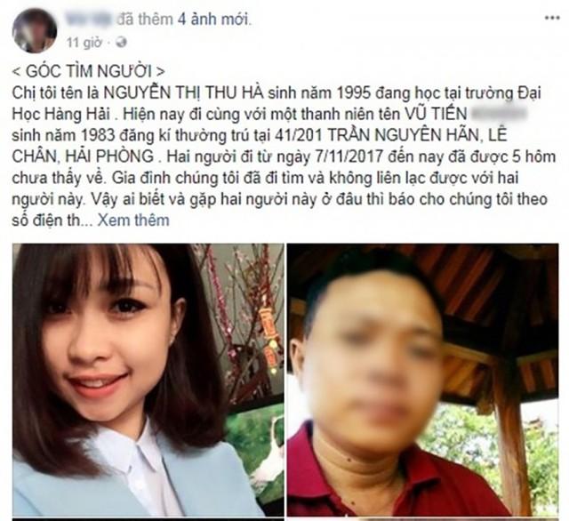 Gia đình nhờ cộng đồng mạng tìm tung tích nữ sinh Đại học Hàng Hải mất tích cùng người đàn ông mới quen