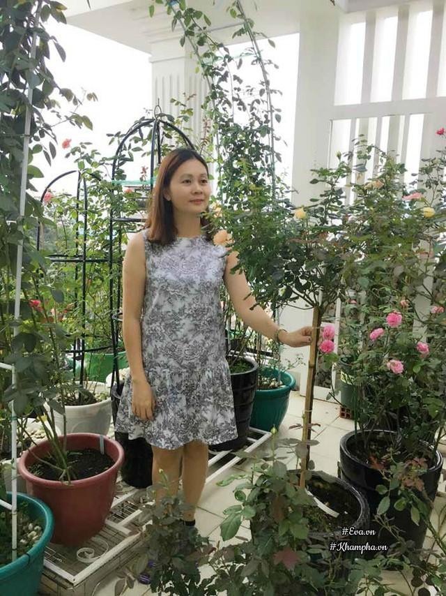 Chị Uyên Bùi bên vườn hồng rực rỡ trên sân thượng.