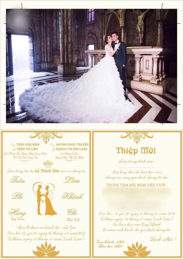 Tấm thiệp cưới đơn giản của Lâm Khánh Chi và Trần Phi Hùng.