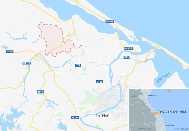 Xã Quảng Vinh (huyện Quảng Điền), địa phương xảy ra vụ trẻ đuối nước. Ảnh: Google Maps.