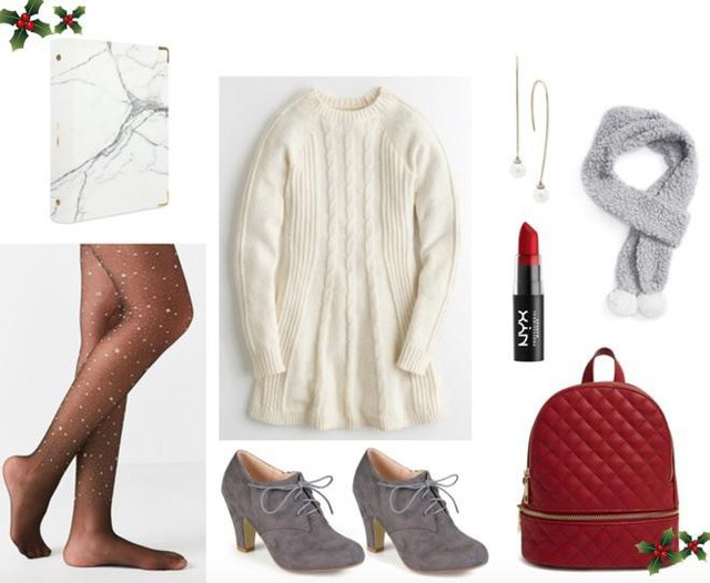 Váy sweater + khăn len xám nhạt + boot xám thấp không cổ + balo đỏ: Sự kết hợp này sẽ mang đến cho bạn một tổng thể với màu sắc tương phản nhau nhưng lại vô cùng nổi bật. Một chiếc váy trắng ấm áp, một đôi tất mỏng lấp lánh, đôi boot xám nữ tính cùng chiếc khăn len ấm áp. Điểm thêm một chút son đỏ bạn sẽ trông cực kì tinh năng động và xinh đẹp.