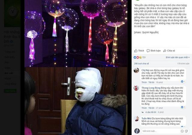 Cảnh báo của người dùng facebook về tai nạn bỏng ở trẻ liên quan đến bóng bay galaxy.