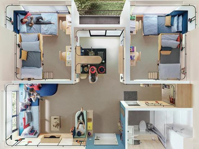 Thiết kế căn hộ hay ký túc xá tí hon dành cho 7 sinh viên tại Thái Lan.