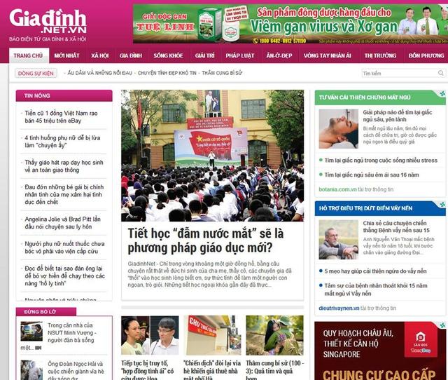 Giao diện trang chủ của báo điện tử Gia đình và Xã hội giadinh.net.vn