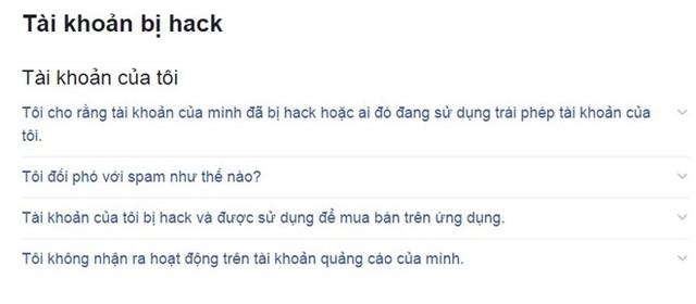 Truy cập trang trợ giúp của Facebook khi có nghi ngờ bị tấn công. Ảnh: Chụp từ màn hình.