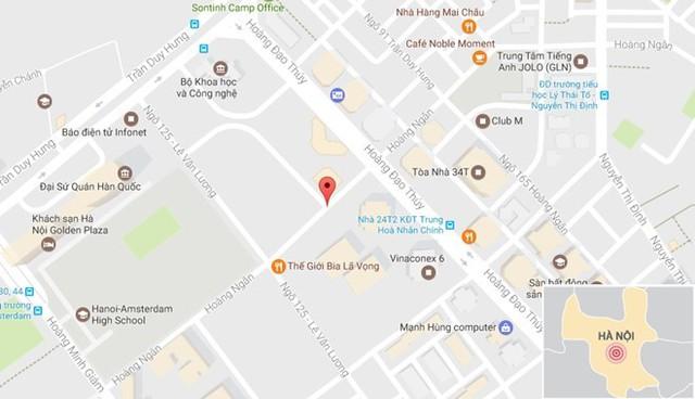 Đường Hoàng Ngân, nơi xảy ra vụ việc. Ảnh: Google Maps.
