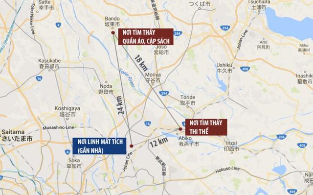 Sơ đồ vụ mất tích và nơi tìm thấy thi thể của bé Lê Thị Nhật Linh. Ảnh: Google Maps.
