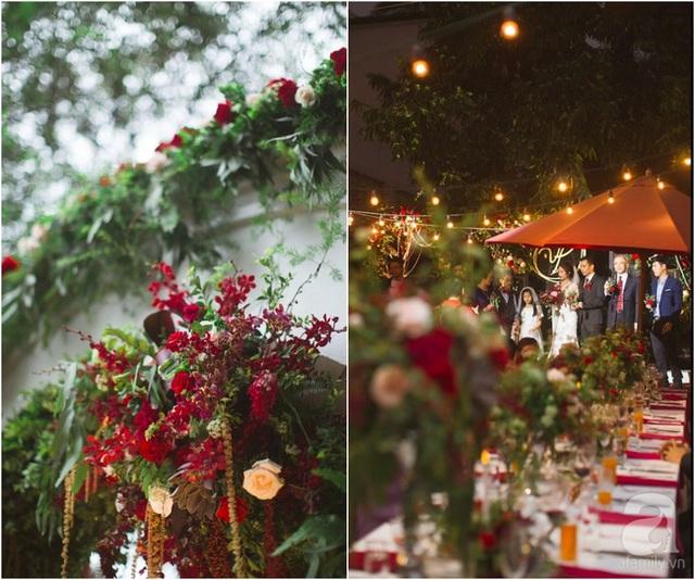 Tiệc cưới chọn màu đỏ làm gam màu chủ đạo.