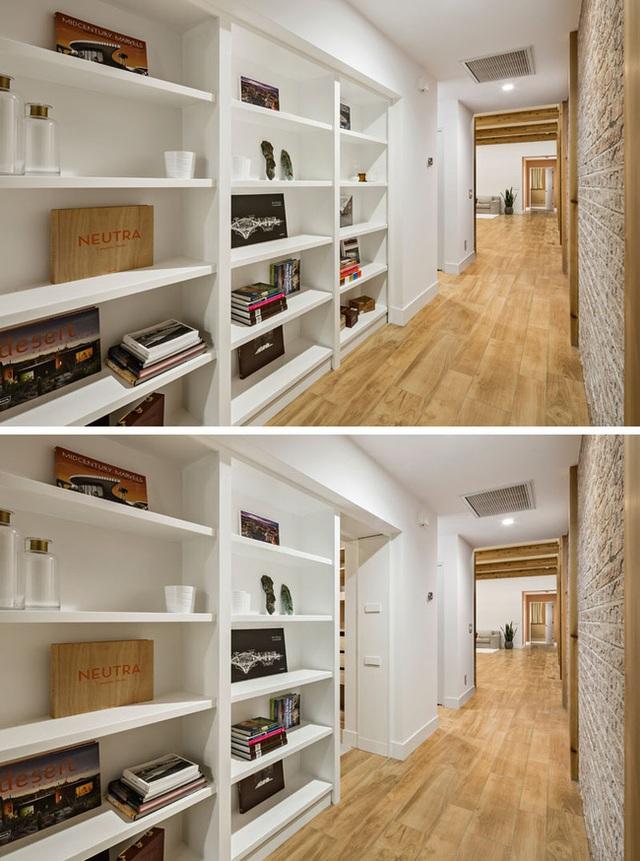 Phong cách thiết kế cánh cửa bí mật này cũng là một giải pháp tiết kiệm không gian đầy tiện ích cho người dùng.
