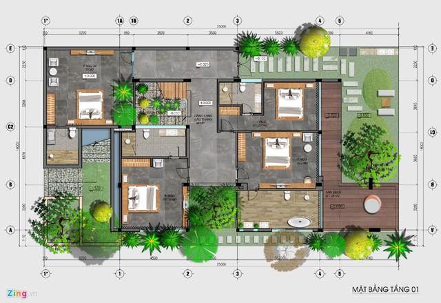 Điều khác biệt là các phòng ngủ được thiết kế tại tầng thấp nhất.