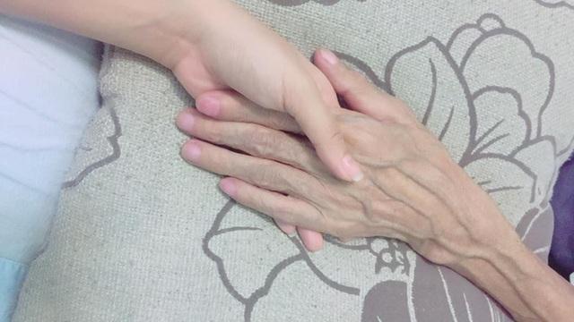 Bức ảnh bàn tay hai cha con Phạm Hương mà Hoa hậu đăng tải.