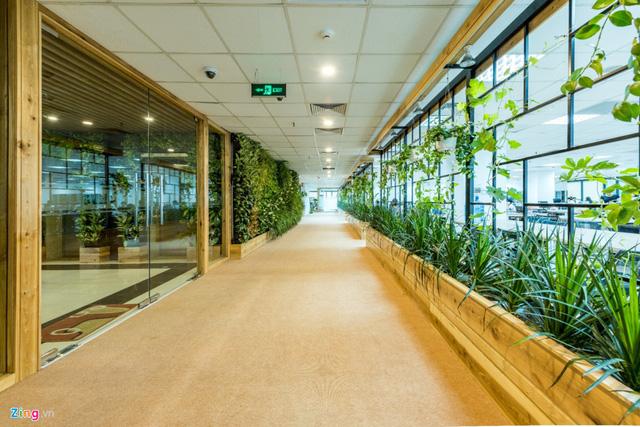 Điểm đặc biệt của văn phòng là hàng nghìn cây xanh được trồng tại nhiều không gian khác nhau. Từ phòng tiền sảnh, các mảng tường đến các dãy hành lang. Các dãy hành lang được thiết kế với tỷ lệ kính lớn thay thế cho tường thạch cao truyền thống.