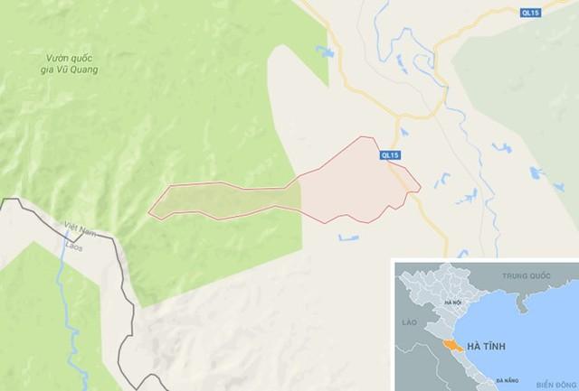 Xã Hương Bình, huyện Hương Khê (Hà Tĩnh), nơi phát hiện vụ việc. Ảnh: Google Maps.