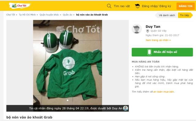Hình ảnh rao bán một bộ quần áo và mũ Grab trên mạng. Ảnh chụp màn hình.
