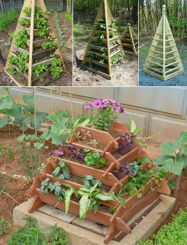 2. Tự làm hoặc có thể đưa ý tưởng này cho những thợ mộc và bạn sẽ có một tháp trồng cây hình kim tự tháp tuyệt vời để đặt ở vườn hay ở góc nhà, ban công hoặc sân thượng.