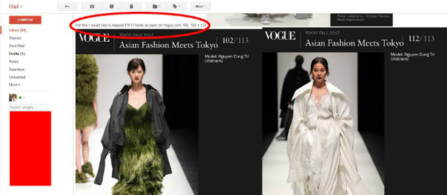 Email đặt hàng stylist của Rihanna gửi cho nhà thiết kế Công Trí. Trong đó họ muốn đặt 3 trang phục nhưng có chỉnh sửa đôi chút cho phù hợp với mục đích sử dụng.