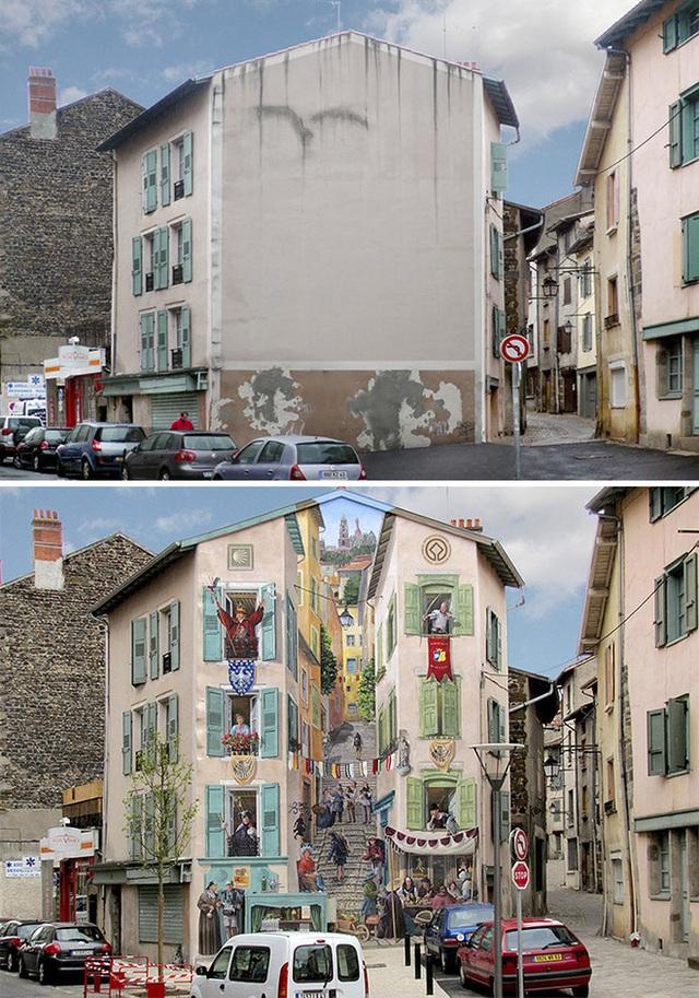 Bức tường đơn thuần với một màu cũ kỹ bỗng chốc biến thành bức tranh 3D với những bậc thang rẽ lối lên đỉnh đồi xanh tươi.