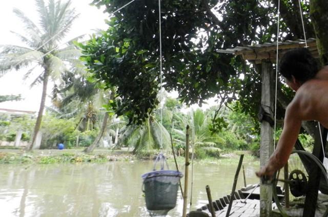 Mỗi ngày có hàng trăm lượt hàng của 6 tiệm tạp hóa vượt kênh Thống Nhất ở Hậu Giang như thế này. Ảnh: Tuấn Anh.