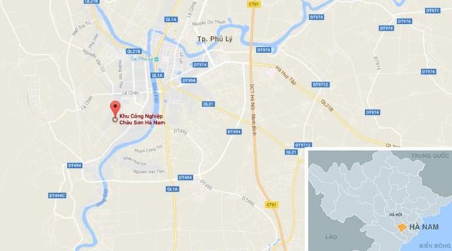 Khu công nghiệp Châu Sơn nằm trên địa bàn TP Phủ Lý (chấm đỏ) nơi xảy ra vụ việc. Ảnh: Google Maps.
