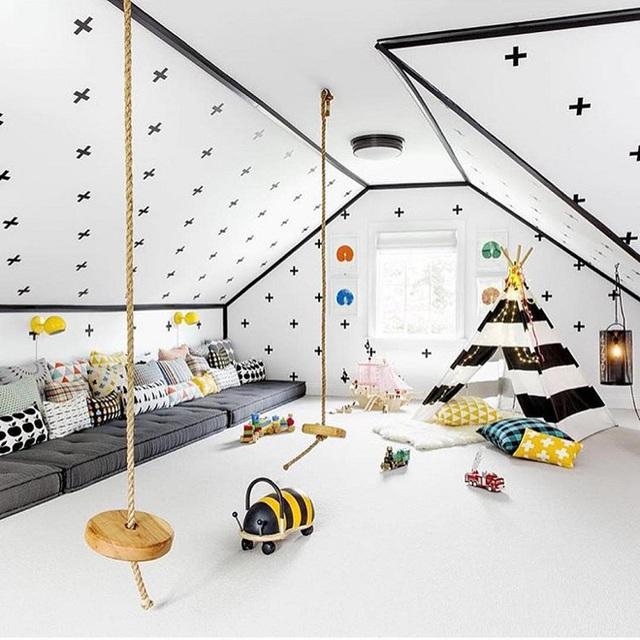Dây thừng đơn giản và một lát gờ gỗ tạo nên một swing cho con bạn chơi trong phòng ngủ rồi.