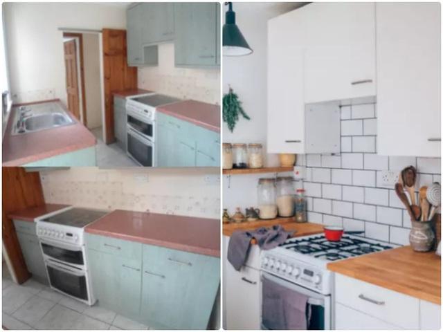 2. Căn bếp nhỏ với cách sử dụng màu sắc và chất liệu dễ khiến không gian thêm chật chội và cũ kỹ. Hãy thay màu sơn cho hệ thống tủ, mở rộng cánh cửa và tạo sự tương phản nhẹ nhàng giữa màu tủ và màu tường.