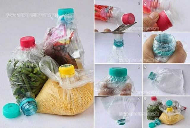 Dùng chai nhựa cũ làm nắp túi nilon cực tiện dụng!