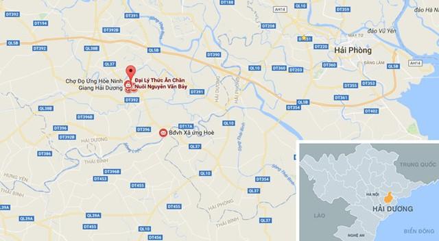 Xã Ứng Hòe (chấm dỏ) nơi xảy ra vụ việc. Ảnh: Google Maps.