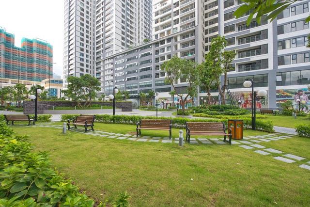 Khu vườn cảnh quan được phủ kín cây xanh tại vị trí trung tâm dự án Imperia Garden