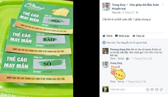 Lời kêu gọi ghép thẻ của nickname Trang Sury trên Fanpage Chợ ghép thẻ khuyến mại Bảo Xuân