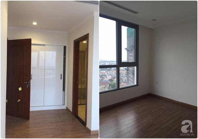 Không gian được lắp đặt sàn gỗ tối và các nội thất cơ bản.