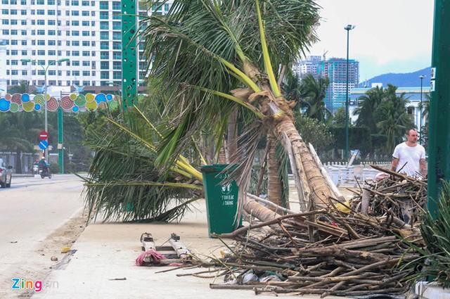 Đường phố ngổn ngang sau bão, người dân Nha Trang đang khắc phục hậu quả, trở lại cuộc sống. Ảnh: An Bình.