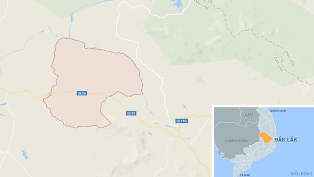 Xã Krông Jing nơi phát hiện thi thể bà Phúc. Ảnh: Google Maps.