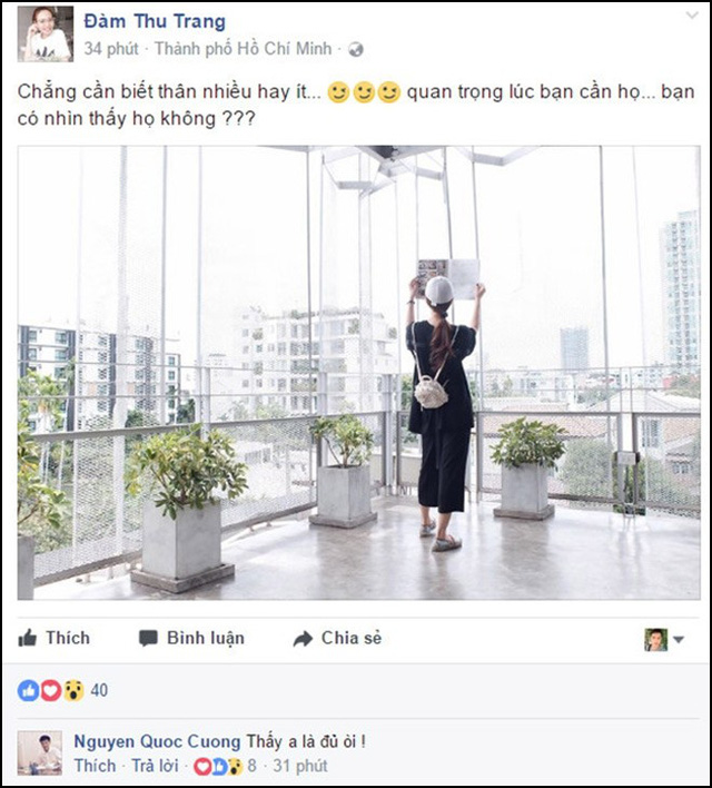 Sau đó, doanh nhân sinh năm 1982 công khai dành cho Đàm Thu Trang những lời lẽ ngọt ngào trên Facebook của cô. Vào đầu tháng 8, khi Đàm Thu Trang đăng tải dòng trạng thái Chẳng cần biết thân nhiều hay ít... Quan trọng lúc bạn cần họ... Bạn có nhìn thấy họ không? thì Cường Đô la lập tức trả lời: Thấy anh là đủ rồi!.