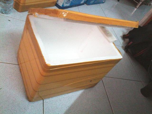 Thùng xốp đựng đồ có sẵn trong nhà.