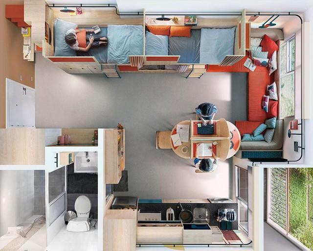 Căn hộ nhỏ nhưng có võ, chỉ vài chục m2 mà được thiết kế rất hợp lý, tận dụng tối đa không gian.