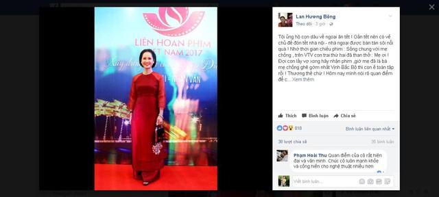 """Tin khó tin: """"Mẹ chồng khó tính"""" Lan Hương ủng hộ con dâu về ngoại ăn Tết"""