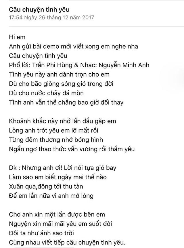 Lâm Khánh Chi hé lộ lời bài hát Câu chuyện tình yêu do ông xã viết tặng. Ảnh NVCC.
