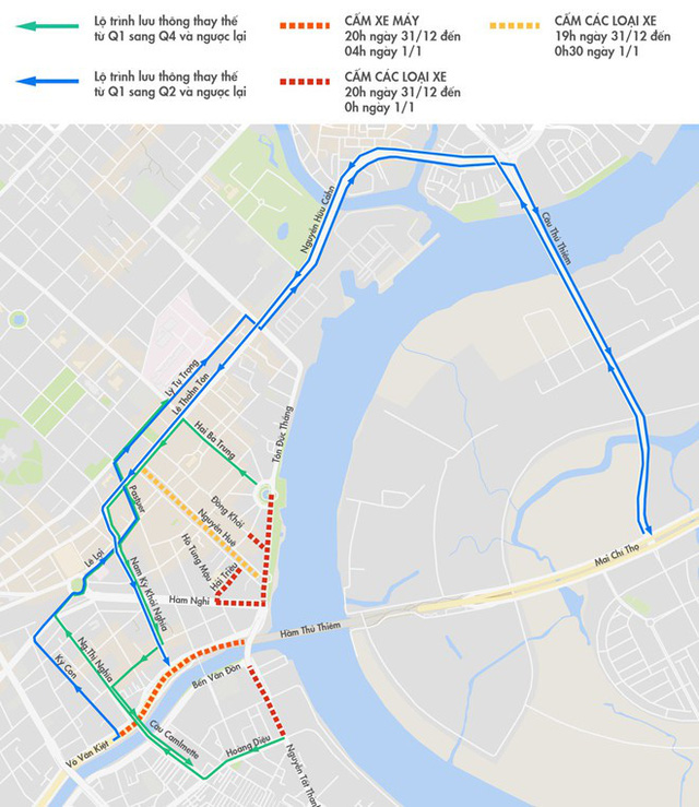 Các tuyến đường cấm ở trung tâm TP.HCM trong đêm giao thừa. Đồ hoạ: Minh Trí.