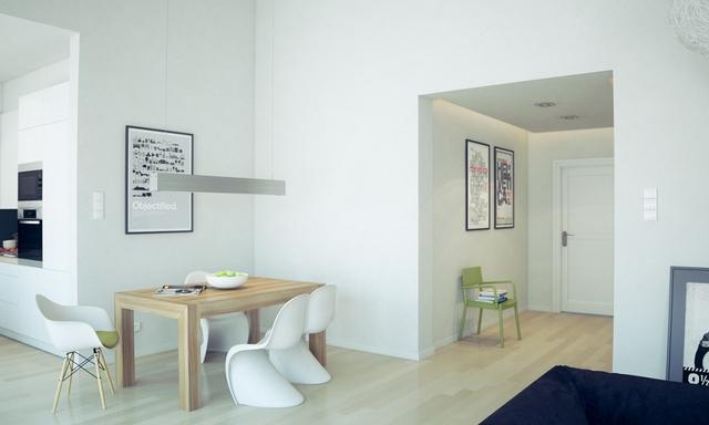 """11. Dù chỉ chiếm một góc rất nhỏ trong ngôi nhà nhưng nếu khéo léo bạn vẫn có thể tạo cho mình một phòng ăn xinh xăn. Đó là sự kết hợp bàn gỗ vững chắc và bộ ghế trắng mềm mại với dáng hình """"điệu đà""""."""