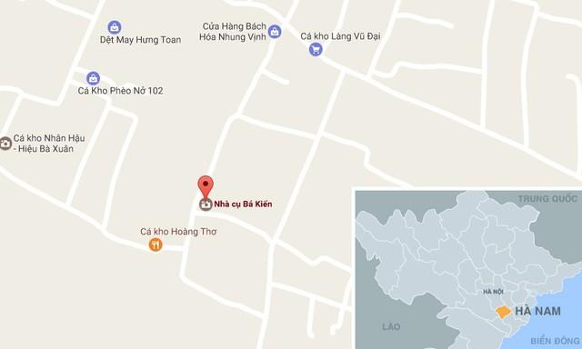 Nhà Bá Kiến (chấm đỏ) trên bản đồ khu vực xã Hòa Hậu (Lý Nhơn, Hà Nam).