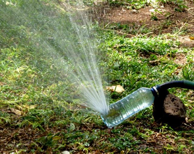 Chỉ bằng những thao tác đục lỗ đơn giản, bạn có thể tận dụng chai nhựa để làm vòi phun tưới cây.